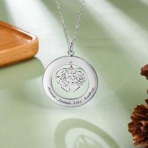 Halsband Kvinna Anpassad Rund Medaljong Hjärta Träd 1 till 4 första Namn