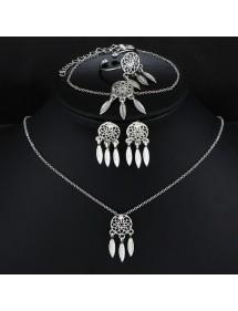 Parure Bijoux Femme Collier Boucles d'Oreilles Bague Attrape Rêve Argenté Simply