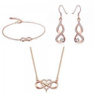 Schmuck Schmuck Frau Halskette Armband Ohrringe Unendlichkeit Herz Premium V4 Vergoldet Rose Gold