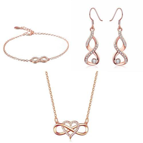 Parure Bijoux Femme Collier Bracelet Boucles Infini Coeur Premium V4 Doré Or Rose