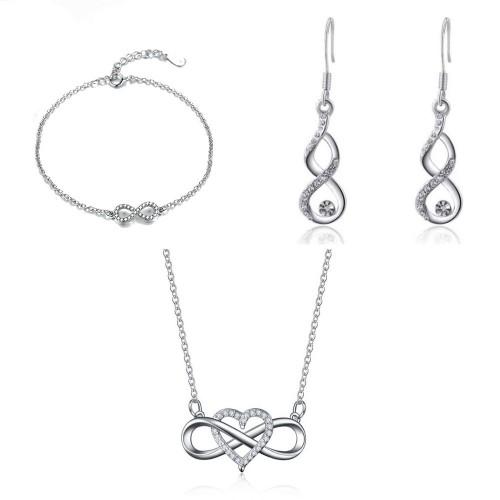 Schmuck Schmuck Frau Halskette Armband Ohrringe Unendlichkeit Und Herz-Premium-V1 Silber