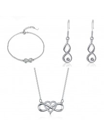 Adornment Jewelry Women Necklace Bracelet Loops Infinity And Heart Premium V1 Silver