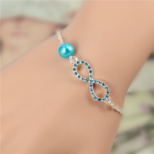 Bracelet Infini Luxe Argent et Perle Bleu