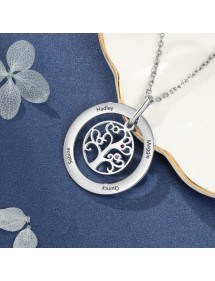 Necklace Custom Tree of Life Design 2 to 9 Names Color Silver 2