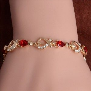 Bracelet Passion Red Heart Gold 2
