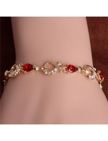 Armband Passion Rot Herz Gold 2