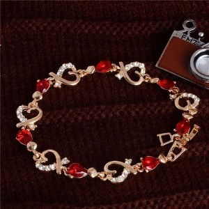 Armband Passion Rot Herz Gold