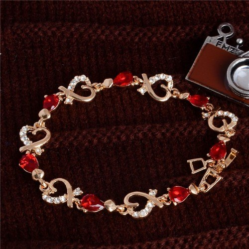 Bracelet Passion Red Heart Gold