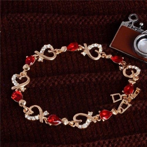 Brazalete Rojo Pasión Del Corazón De Oro