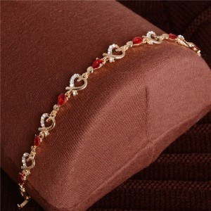 Armband Passion Rot Herz Gold 3