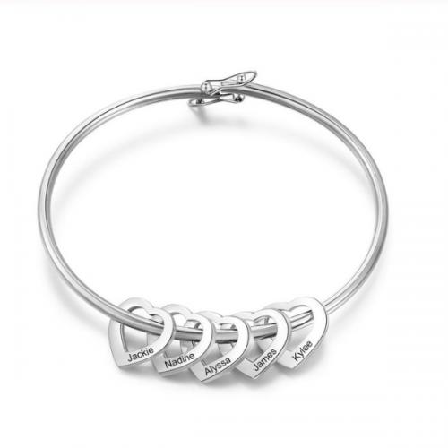 Armband Frau Benutzerdefinierte Medaillons, Herzen, 2-bis 6-Vornamen-Silber