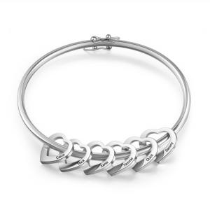 Armband Frau Benutzerdefinierte Medaillons Herz 6 Vornamen Silber