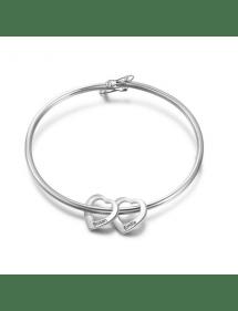Armband Frau Benutzerdefinierte Medaillons, Herzen, 2 Vornamen Silber