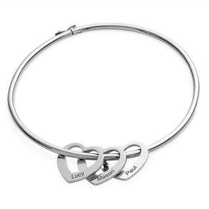 Armband Frau Benutzerdefinierte Medaillons Herz 3 Vornamen Silber