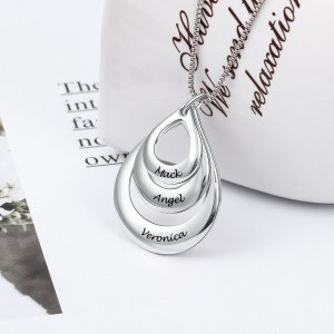 Necklace Woman Custom Water Drops 3 Names Silver
