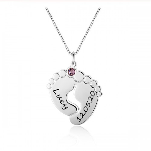 Necklace Woman Custom Feet 1 First Name Peter Birth Silver