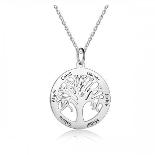 Halskette Frau Benutzerdefinierten Baum des Lebens 6 Vornamen Silber