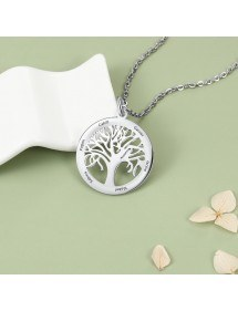 Necklace Woman Custom Tree of Life 6 first Names in Silver