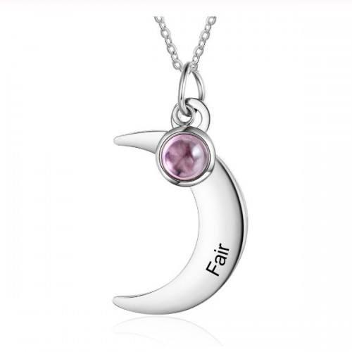 Halsband Kvinna Anpassad Half Moon 1 Förnamn Silver Sten Födelse