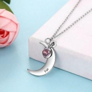 Collar De Mujer De Encargo De La Mitad De La Luna 1 Primer Nombre De Plata De La Piedra De Nacimiento