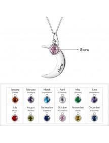 Halskette Frau Benutzerdefinierten Halben Mond 1 Vorname Silber Steine Geburten