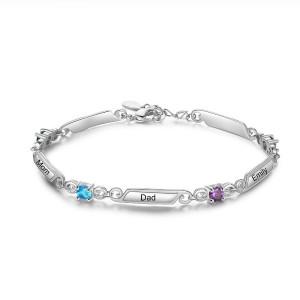 Bracelet Femme Personnalisé Simply 1 à 5 Prénoms Argenté