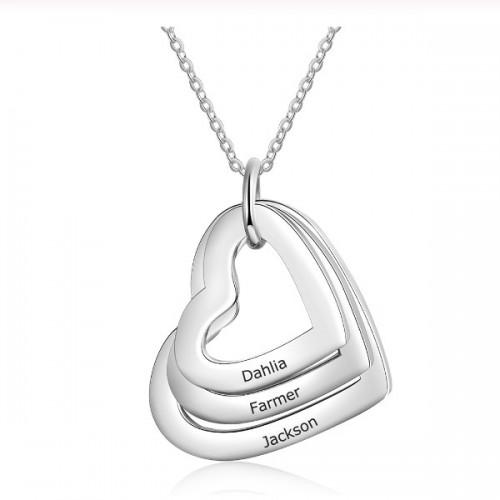 Halsband Kvinna Anpassad 3 Första Namn På Lockets Hjärtan Silver