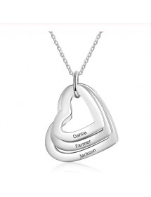 Necklace Woman Personalized 3 Names Medallions Hearts Silver