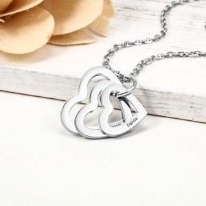 Colar Mulher Personalizada 3 Nomes Medalhões Corações Prata