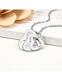 Halskette Frau personalisierte 3 Namen Medaillons Herzen Silber