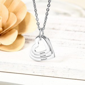 Collar Mujer Personalizado 3 Nombres Medallones Corazones Plata