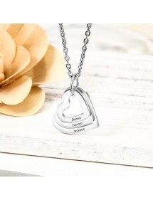 Nyaklánc nő személyre szabott 3 név medalion szívek ezüst