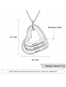 Ogrlica Žena personalizirana 3 imena Medaljonci Srca Srebrne dimenzije