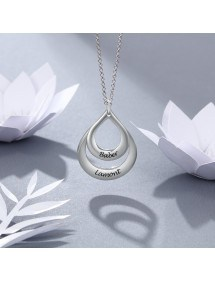 Necklace Woman Custom Drops Of Water With 2 Names Silver