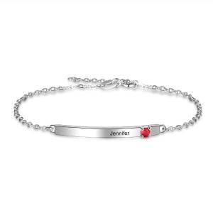 Armband Benutzerdefinierte Symbolleiste 1 Vorname Oder Text-Silber