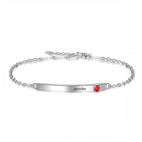 Bracelet Custom Bar 1 First Name Or Text Silver