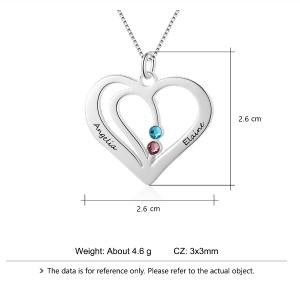 Náhrdelník Žena Personalizované Srdce Stříbrná 2 jména V2