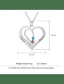 Ogrlica Woman Personalizirano srce Silver 2 Imena V2