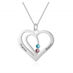 Necklace Woman Personalized Heart Silver 2 Names V2