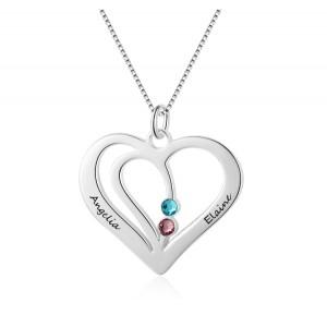 Necklace Women Custom Heart Silver 2 Names V2