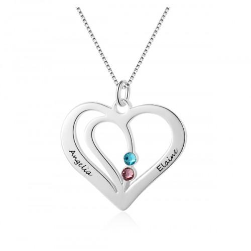 Collar Mujer Personalizado Corazón Plata 2 Nombres V2