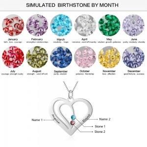 Halskette Frau Personalisiertes Herz Silber 2 Namen V2