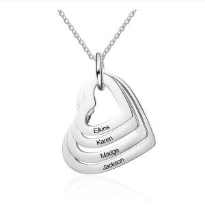 Halskette Frau Benutzerdefinierte Medaillons, Herzen, 4 Vornamen