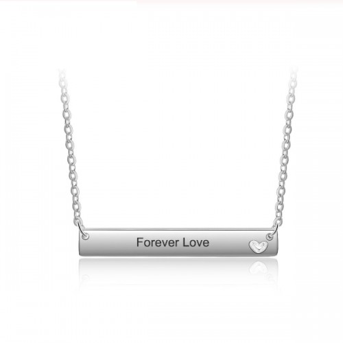 Necklace Custom Bar 1 First Name Small Heart Silver