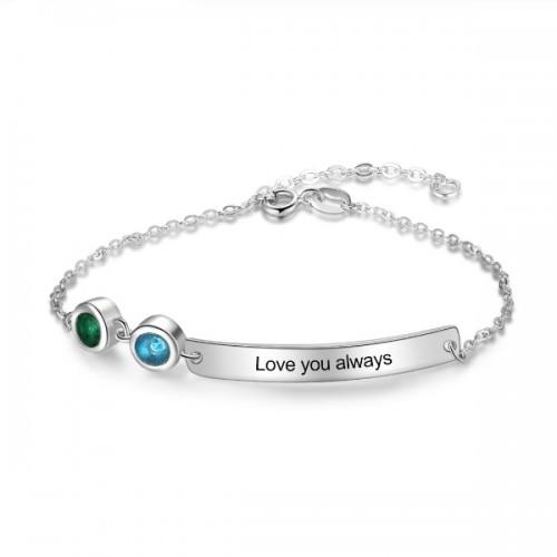Armband Frau Benutzerdefinierten Symbolleiste 2 Vornamen Silber