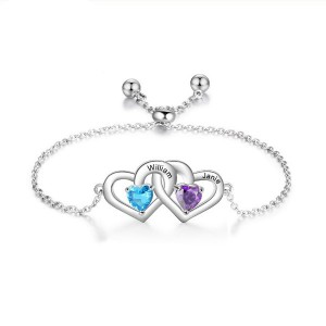 Bracelet Personalised Double Hearts 2 Names