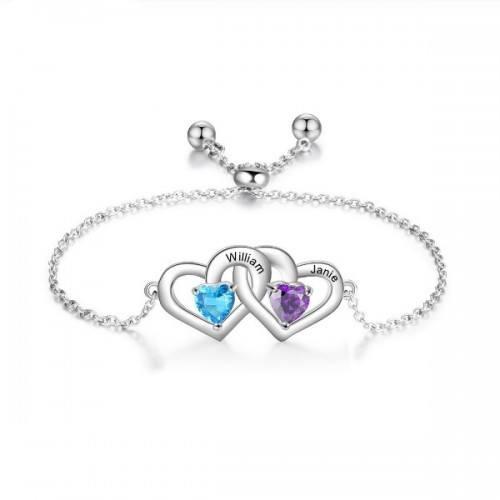 Bracelet Personnalisé Double Coeur 2 Prénoms