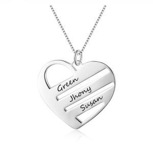 Collar Mujer Personalizado Corazón 3 Barras 3 Nombres