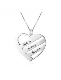 Halsband kvinna personligt hjärta 3 staplar 3 namn