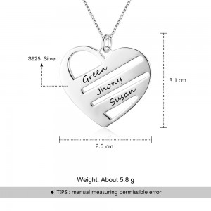Necklace Woman Personalized Heart 3 Bars 3 Names